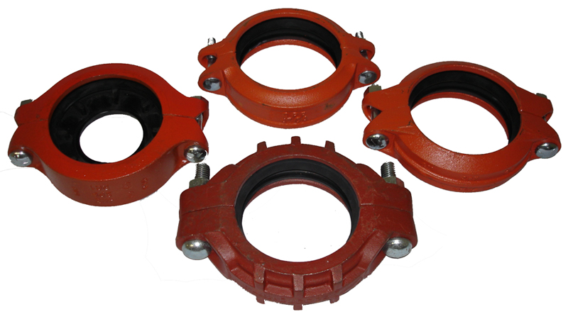 "Ductilic GROOVED COUPLINGS, Standard Flexible, Medium Weight Flexible, Lightweight Flexible, Lightweight Rigid, Reducing Coupling, Housing are made of Ductile Iron conforming to ASTM A536, Gr. 65-45-12 or Stainless steel (304L & 316L)., Coupling is supplied with an EPDM gasket and two pairs of bolts and nuts. , Bolts are heat treated and conform to the requirements of ASTM A183 and Nuts to ASTM A194., Available in sizes 1"" through 24"" diameters., Couplings are painted orange or red, or as an option can be supplied hot dipped zinc galvanization & coated with rust inhibiting paint. Other coatings by special request are available, Products are listed, approved and or certified by UL and FM."